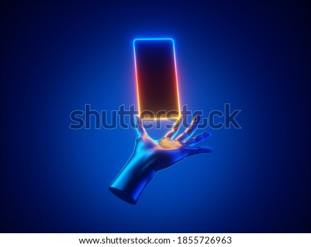 3d render mannequin hand hold smart phone gadget in vertical position, illuminated with neon light. Electronic device isolated on blue background. Minimal futuristic touchscreen technology concept