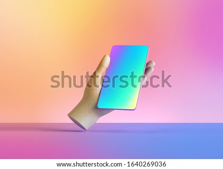 3d render mannequin hand holding smart phone gadget, electronic device isolated on colorful pastel background, minimal concept, simple clean design. Remote control. Limb prosthesis