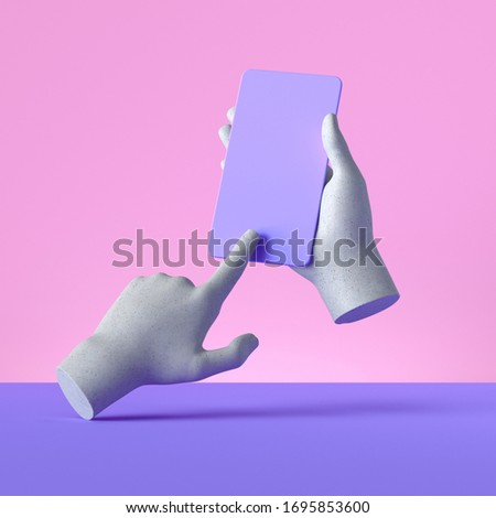 3d render mannequin hands holding smart phone gadget, electronic device concept, isolated on pink violet background, minimal modern design. Remote control with touchscreen, user experience