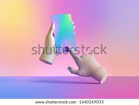 3d render mannequin hands holding smart phone gadget, electronic device isolated on colorful pastel background, minimal concept, simple clean design. Remote control. Limb prosthesis