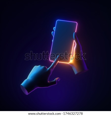 3d render mannequin hands holding smart phone gadget. Neon glowing electronic device isolated on dark background, body parts, simple clean design. Minimal futuristic touchscreen technology concept