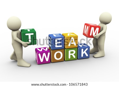 3d render men placing team work text cubes. 3d illustration of human character