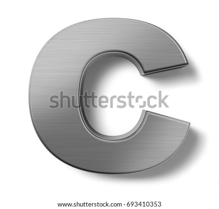 3d Render Metal Alphabet Symbol C Ez Canvas
