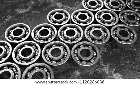 3D render metallic background illustration. Machinery concept. Ball bearings