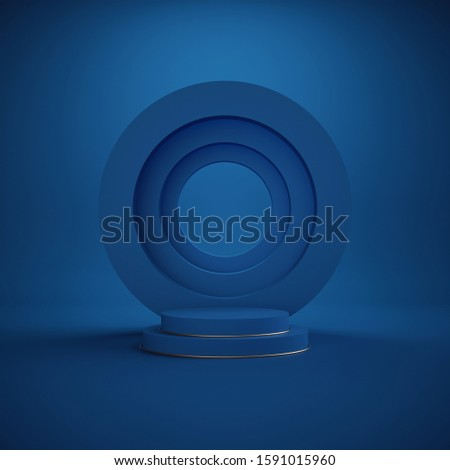 3d render. Minimal abstract background. Blank round frame, empty podium, vacant pedestal, cylinder steps, modern stage, showcase. Modern concept, copy space. Classic blue color of the year 2020