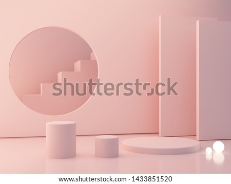 3d render. Minimal scene with podiums to show a product. Pink pastel colors scene with geometrical forms and pink cylinder podium. platforms and stair in background. Elegant, trendy scene with lights.