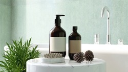3D render mock up, a set of Aroma spa products container, Essentials massage oil and cleanser with a  natural Wooden Body Brush arranging beside a white bath tub in the bath room. Background, Wellness