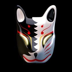 3d render model  traditional Japan devil mask Kitsune