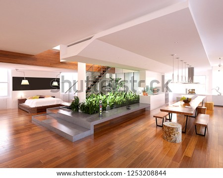 3d render modern luxury house interior