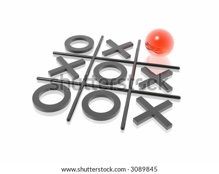 3D render naughts and crosses