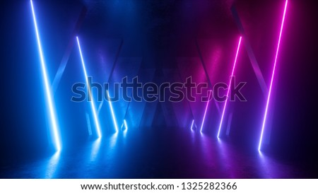 3d render, neon abstract background, empty room, glowing lines, geometric, ultraviolet light