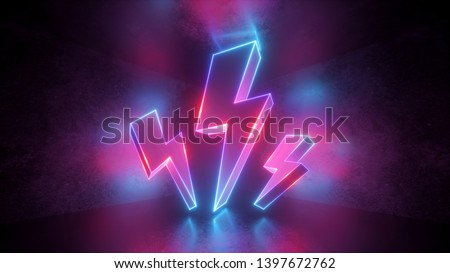 3d render, neon light abstract background, glowing thunderbolt, electricity power symbol, lightning sign, power symbol