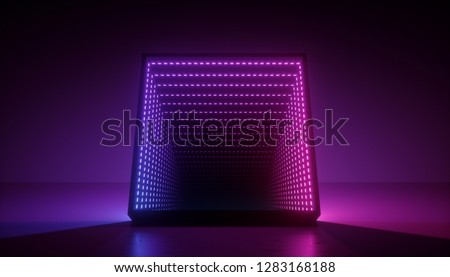 3d render, neon light box, tunnel, corridor, square portal, ultraviolet spectrum, abstract background, virtual reality environment, laser show, fashion podium, path, way, stage, floor reflection