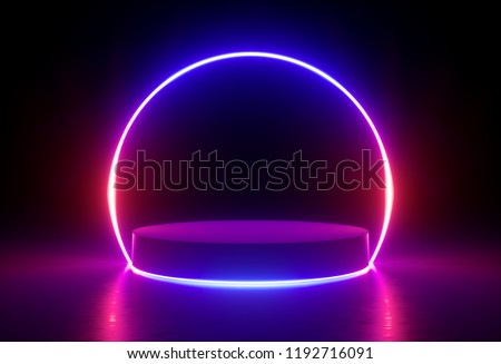 3d render, neon light, glowing lines, ultraviolet, stage, portal, round arch, pedestal, virtual reality, abstract background, round portal, arch, red blue spectrum, vibrant colors, laser show
