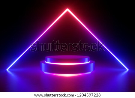 3d render, neon light, glowing lines, ultraviolet, stage, triangular portal, arch, pedestal, virtual reality, abstract background, round portal, arch, red blue spectrum, vibrant colors, laser show