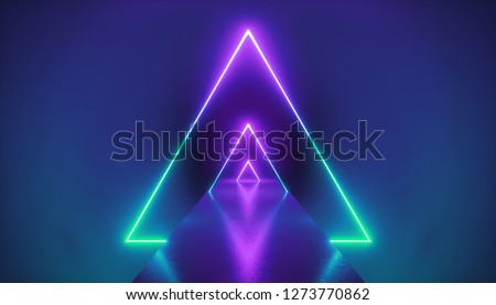 3d render, neon light triangle, virtual reality, triangular esoteric portal, tunnel, corridor, ultraviolet abstract background, laser show stage, fashion catwalk podium, road, way, floor reflection