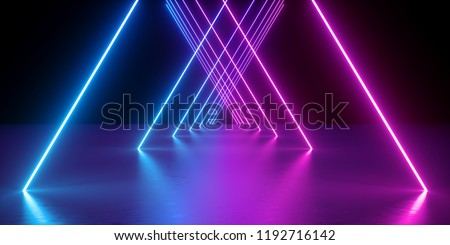 3d render, neon lights, abstract background, glowing lines, virtual reality, violet triangular arch, ultraviolet, infrared, spectrum vibrant colors, laser show