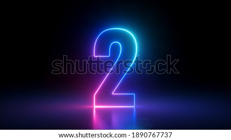3d render, number two glowing in the dark, pink blue neon light Stock foto ©