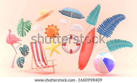 3d render object for banner,poster with beach elements on pink background.-3d rendering.