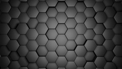 3d render of a black hexagons background, background for web, banners, cover design, book design, poster, cd cover, flyer, website backgrounds or advertising.white background, geometric background,