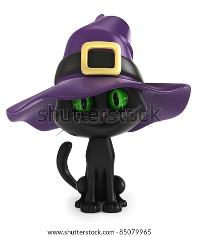 3D render of a black witch cat
