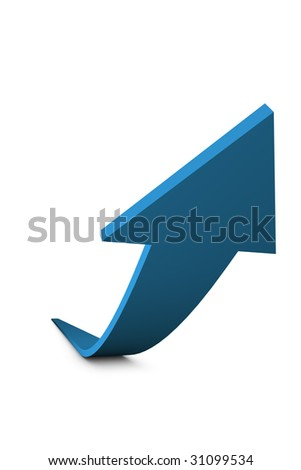 3D Render of a blue arrow isolated on white background. Business concept: Growth. - stock photo