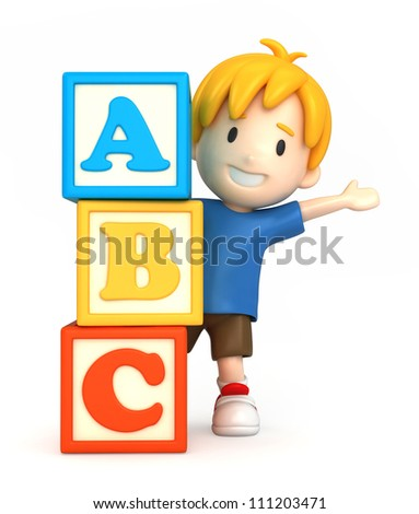 3d render of a boy and blank building blocks