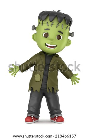 3D render of a boy wearing Halloween Frankenstein costume