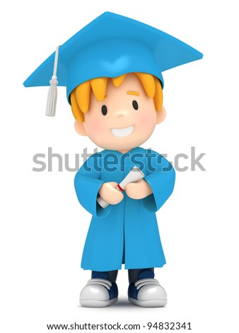 3D render of a boy with certificate