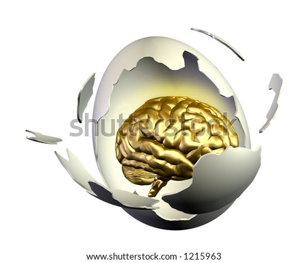 3D render of a brain inside an egg breaking open.