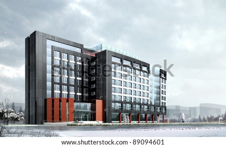 3D render of a building