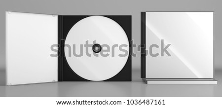 3d render of a cd dvd compact disc plastic box mockup on grey background. Front view.