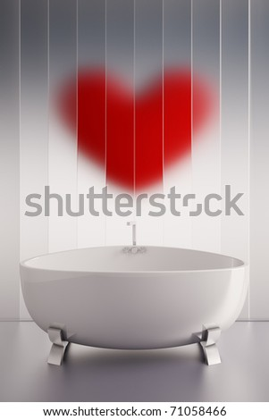 3d render of a ceramic bath tab and a red heart wall