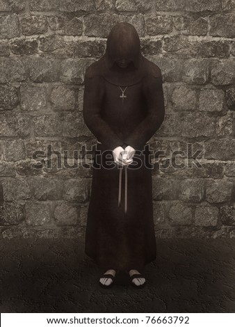 3d render of a christian monk with his head bowed, contemplating. A stone wall is  in the background.