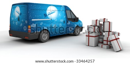 3D Render of a Christmas Delivery Van Isolated on White