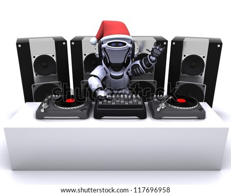 3D render of a Christmas Robot  DJ mixing records on turntables