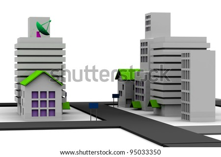 3d render of a city model - stock photo