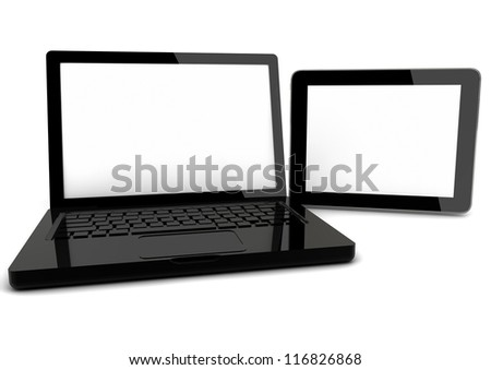 3d render of a computer and a tablet pc