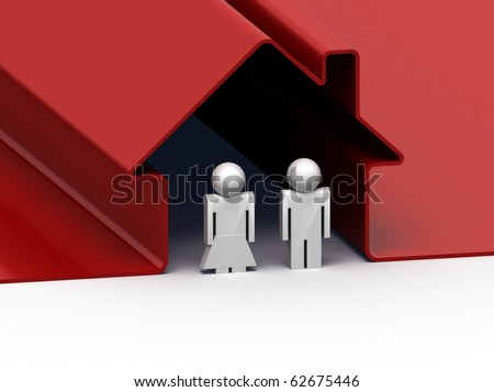 3d render of a couple standing in front of their house
