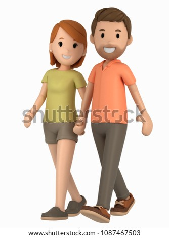 3d render of a couple walking