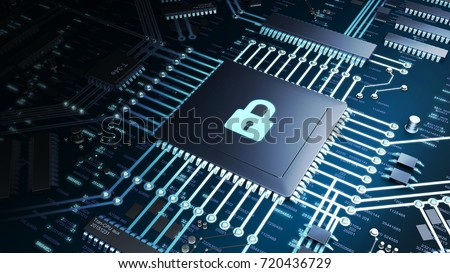 3D Render of a CPU on a motherboard with strong lighting and high contrast. Locked CPU symbol representing cyber security and data protection. Internet security concept.