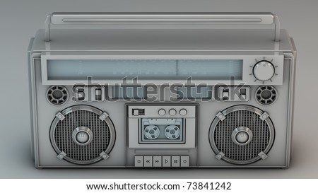 3D render of a custom silver boombox