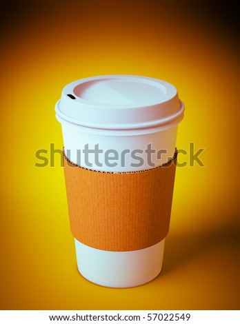 3D render of a disposable coffee cup on orange background