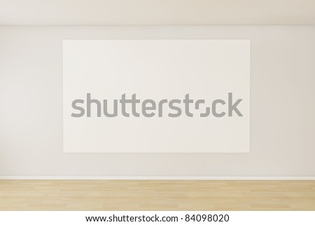 3d render of a empty room with a blank canvas