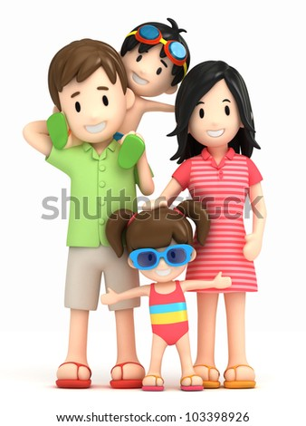 3d render of a family