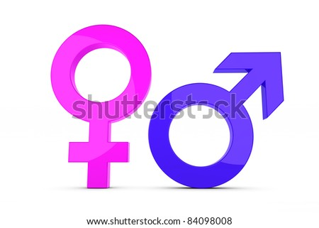 3d render of a femal and male sign