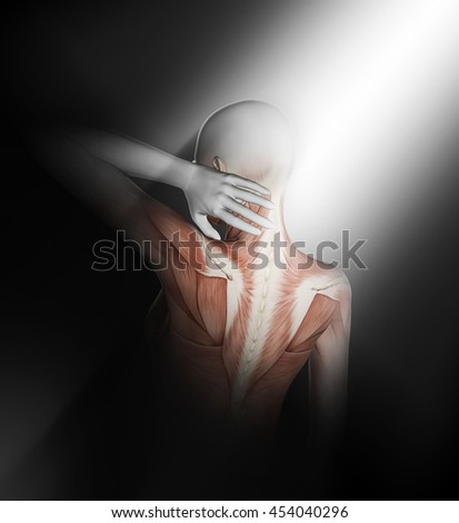 3D render of a female medical figure with partial muscle map holding neck in pain #454040296