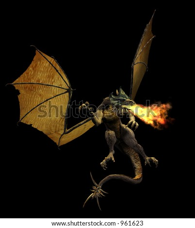 3D render of a fire breathing dragon.