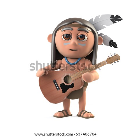 3d render of a funny cartoon Native American Indian character playing an acoustic guitar.