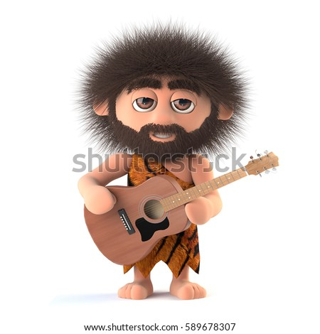 3d render of a funny cartoon primitive stoneage caveman character holding an acoustic guitar